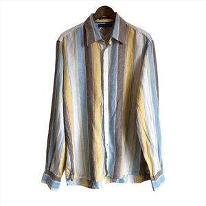 TOMMY HILFIGER Linen Striped Casual Button Down Shirt Top Blue Yellow
